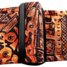 Vintage African Print Guitar Strap Artisan Handmade Earth Tone  Brown, Black, Cream, Terracotta image