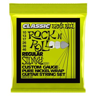 Ernie Ball Regular Slinky Classic Rock n Roll Pure Nickel Wrap Electric Guitar Strings - 10-46 Gauge