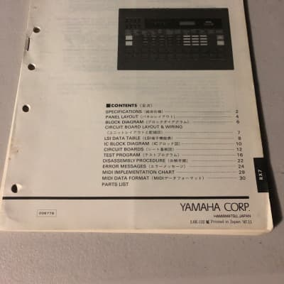 Yamaha RX7 Digital Rhythm Programmer Service Manual 1987
