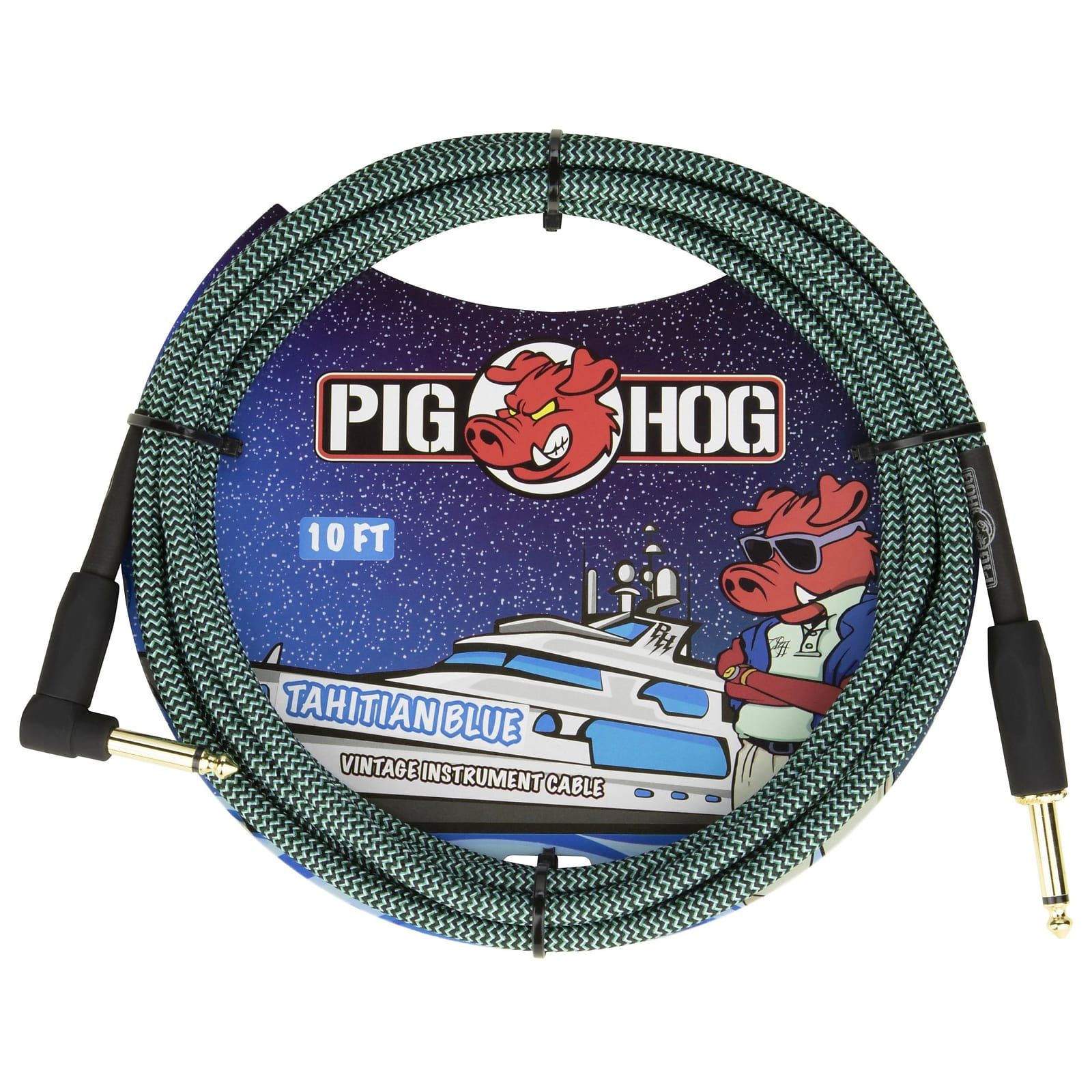 "Pig Hog 10-Foot Vintage Woven Instrument Cable, 1/4"" Straight-Right Angle, Tahitian Blue - New 2020!"