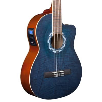 Lindo LDG-960CEQ Electro-Acoustic Classical Guitar with Canvas Carry Case - Picasso Blue for sale