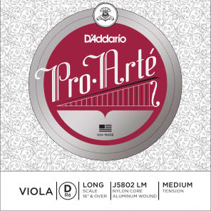 D'Addario J5802 LM Pro-Arte Viola Single D String - Long Scale, Medium Tension