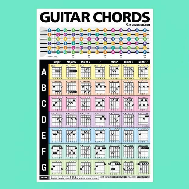 popular guitar chords poster best music stuff reverb. Black Bedroom Furniture Sets. Home Design Ideas