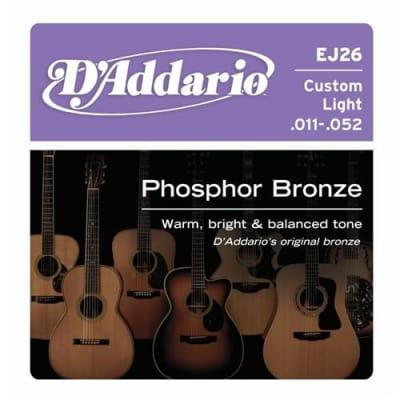 D'Addario EJ26 Phosphor Bronze Acoustic Guitar Strings - Custom Light 11-52