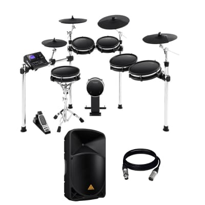 Alesis DM10 MKII Pro Kit Premium Ten-Piece Electronic Drum Kit with Mesh Heads + Behringer B115D PA Speaker System and Cable.