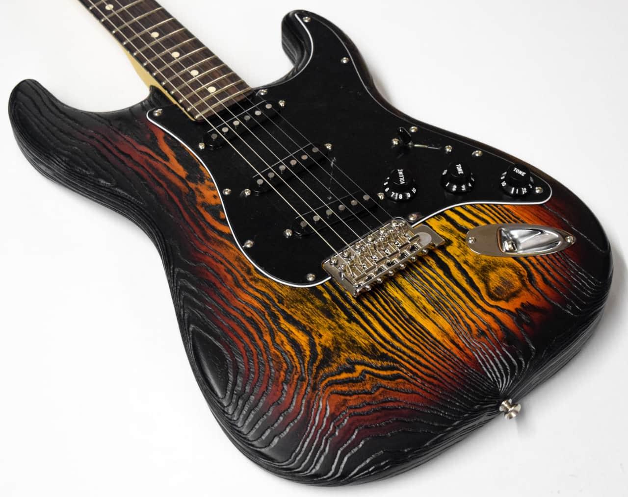 Fender Sandblasted Stratocaster 3 Tone Sunburst Reverb