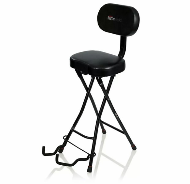 Gator Frameworks Guitar Seat/Stand Combo Combination Guitar Performance  Chair 300 Lbs Capacity