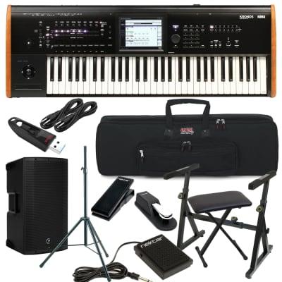 Korg Kronos 2 61-key Synthesizer Workstation, Gator GTSA-KEY61 Case, Mackie Thump12A, Speaker Stand, Plixio Keyboard Stand, Bench, Nektar NX-P, Nektar NP-1, Sustain Pedal, (2) 1/4 Cables, USB Stick 32GB Bundle