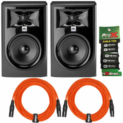 "JBL Professional 305P MkII Powered 5"" 2-Way Studio Monitor Speakers + Orange XLR"