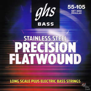 GHS M3050 Precision Flatwound Long Scale Bass Strings (55-105)