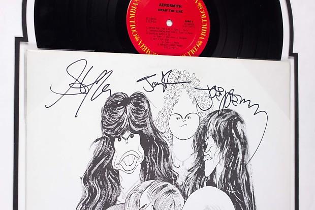 Aerosmith Draw The Line Band Signed Album Lp Custom Reverb