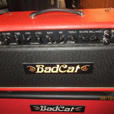 Bad Cat Hot Cat 30R 30-Watt Guitar Amp Head Ostrich Red With 2 x 12 Cabinet