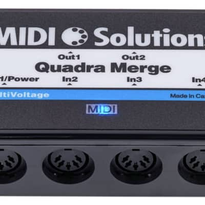 MIDI Solutions MultiVoltage Quadra Merge 4-in 1-out MIDI Merge Box