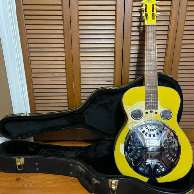 Regal RD-40 Gloss Yellow Squareneck Dobro Guitar and hard case for sale