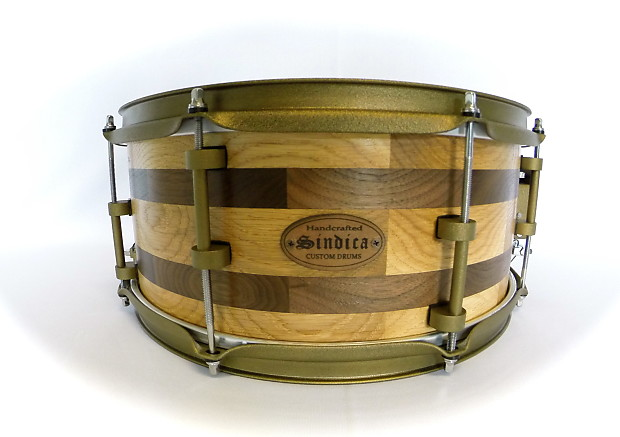 price drop new oak and walnut segmented shell snare drum by reverb. Black Bedroom Furniture Sets. Home Design Ideas