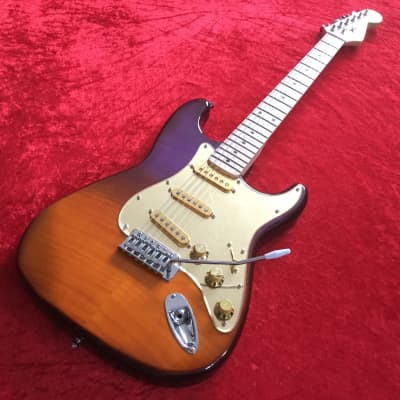 MSI ST Custom Guitar - Flamed Orange and Purple Veneer with Gold Mirror Pickguard for sale