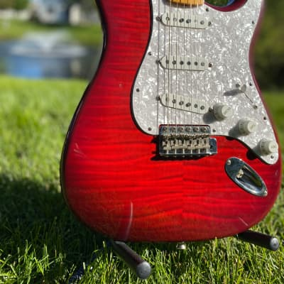 1993 Foto Flame Fender Stratocaster Red Flamed top for sale