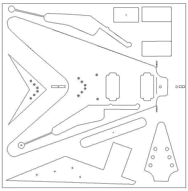1959 flying v routing template vinyl sticker for guitar reverb