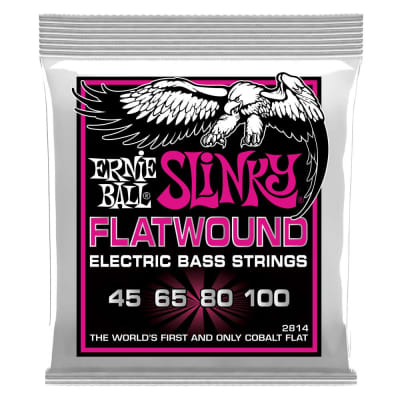 Ernie Ball 2814 Super Slinky Flatwound Electric Bass Strings, 45-100 Gauge