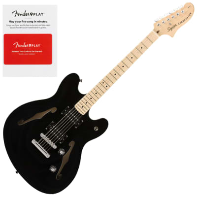Squier 0370590506 Affinity Series Starcaster, Maple Fingerboard, Black Semi-Hollow Electric Guitar w/ Fender Play Card