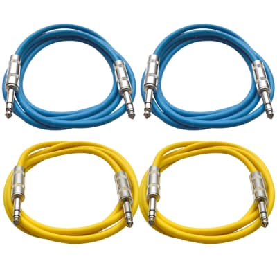 """4 Pack of 1/4"""" TRS Patch Cables 6 Feet Extension Cords Jumper - Blue & Yellow"""