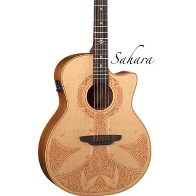 Luna Henna Acoustic Guitar Moroccan laser design GC profile HEN SAH SPR for sale