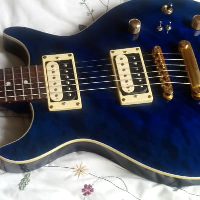 Legend MIK Doublecut, Blue Quilt top, set neck, mahogany, Gemini Dark Star HB's for sale