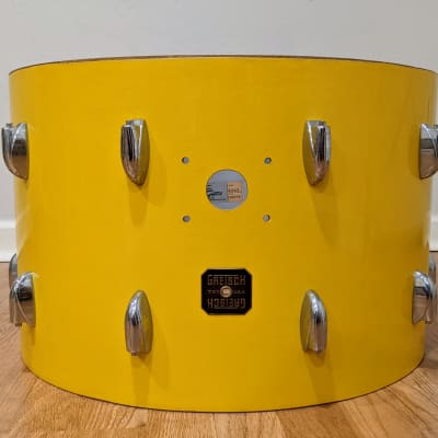 "NOS 22"" 14X22 Gretsch USA square badge Jasper era Tony Williams Yellow Bass Drum"