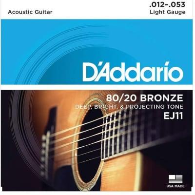 D'Addario EJ11 80/20 Bronze Acoustic Strings: 12-53 (Light)