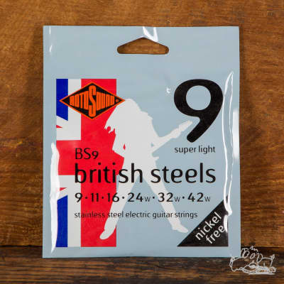 Rotosound British Steel Stainless Steel Electric Guitar Strings 9s, 10s, and 11s - 9-42