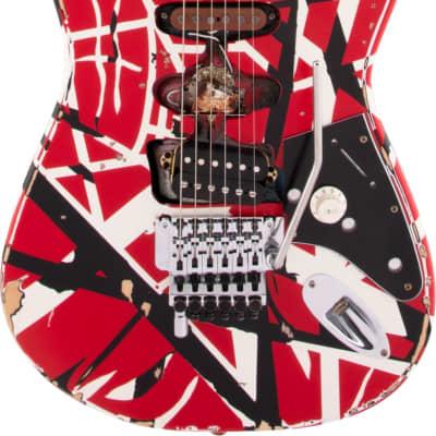 EVH Striped Series Frankie Red / White / Black Stripes Relic for sale