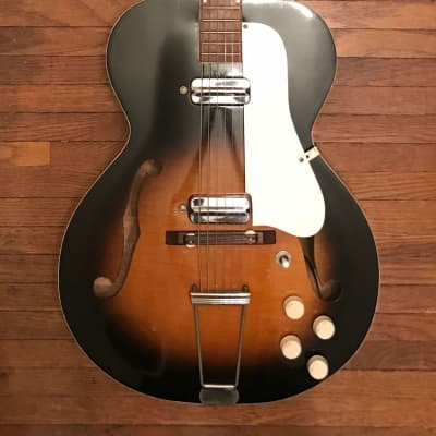 1950s-60s Kay N2 Archtop Electric Silvertone Harmony Hollywood Speed Demon Sunburst w/Original Case