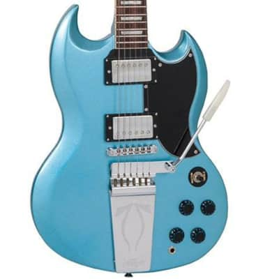 Vintage Reissue VS6VGHB SG Lyre Style Electric Guitar in Gun Hill Blue