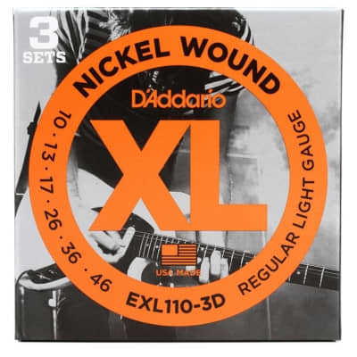 D'Addario EXL110-3D Nickel Wound Electric Strings - .010-.046 Regular Light 3-Pack for sale
