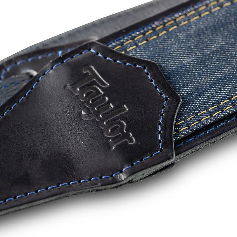 Taylor Blue Denim Strap, Navy Leather Edges, 2.5