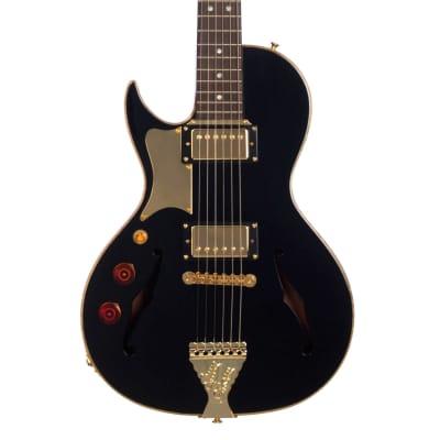 B&G Guitars Little Sister LEFTY Crossroads Cutaway Humbucker - Midnight Ocean - LS-LHC-H-MO - Black