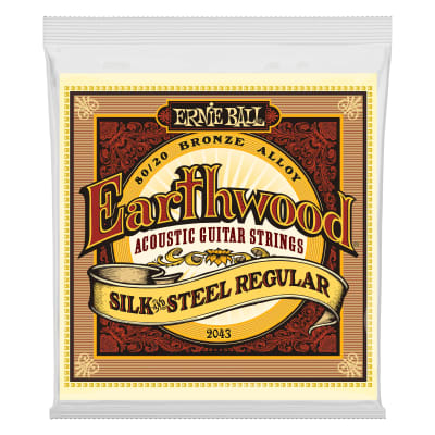 Ernie Ball 2043 Earthwood Silk & Steel Regular 80/20 Bronze Acoustic Guitar Strings - 13-56 Gauge