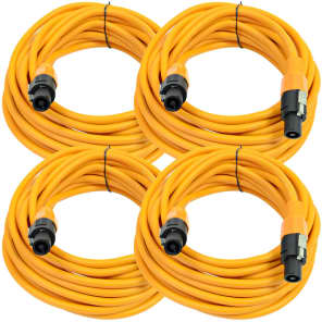 Seismic Audio TW12S25ORANGE-4PACK 12-Gauge Speakon to Speakon Speaker Cables - 25' (4-Pack)