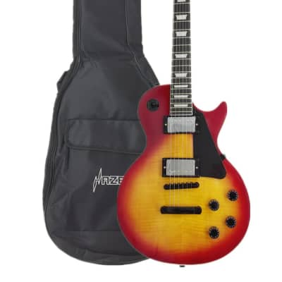 Haze HSG9TCS Solid Body Flame Maple Cherry Top Electric Guitar, Sunburst w/Accessories ,padded Bag for sale