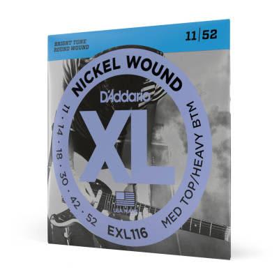 D'Addario EXL116 Nickel Wound Medium Top / Heavy Bottom Electric Guitar Strings, 11-52 Nickel