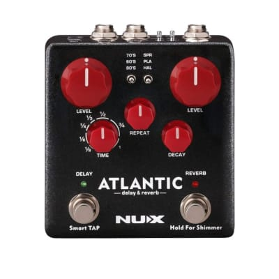 NUX Atlantic Reverb Delay Guitar Pedal Multi Effects 3 Delay Plate Reverb Shimmer Effect Stereo Soun