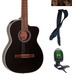 Takamine G Series GC1CE-BLK Acoustic-Electric Classical Guitar, Black Bundle for sale