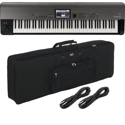 Korg Krome EX 88 – Music Workstation, Gator GKB-88 Carry Case, (2) 1/4 Cables Bundle