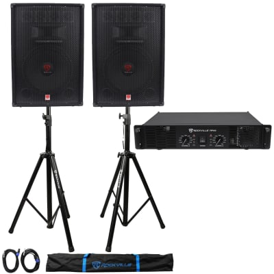 "(2) Rockville RSG15.4 15"" PA Speakers + Rockville RPA9 Amp + Stands+Cables+Case"