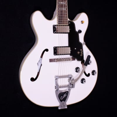 Guild Starfire V Semi-Hollowbody White Electric Guitar w/ Case for sale