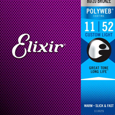 Elixir 11025 PolyWeb 80/20 Acoustic Custom Light 11-52