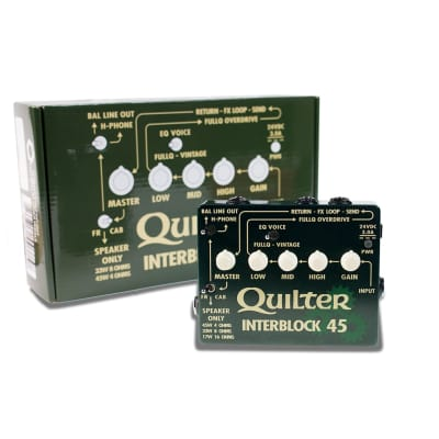 Quilter InterBlock 45 watt guitar amplifier pedal with cab sim out and xlr