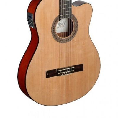 ANGEL LOPEZ MEN TCE S ACOUSTIC/ELECTRIC THIN BODY CLASSICAL GUITAR SOLID SPRUCE TOP for sale