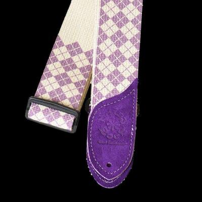 DAISY ROCK DRS10 purple argyle cotton guitar strap NEW
