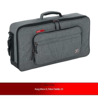Gator Cases Grey Transit Series Accessory Bag for Korg Micro X, Triton Taktile-25 Synthesizers
